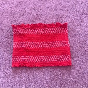 Garage red bandeau crop tube top small